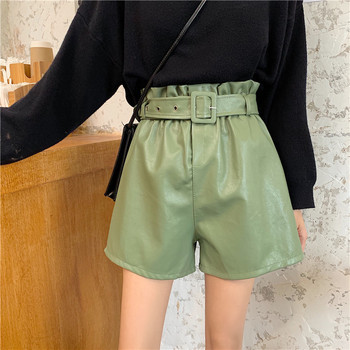 цена на Pu Leather Winter Autumn Shorts Feminino High Waist Chic Ruffles With Belt Shorts Girls Casual Black Faux Leather Shorts
