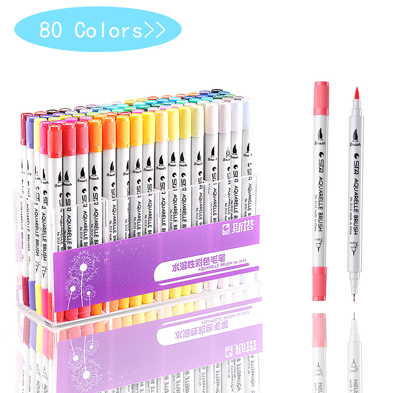 80 Colors Single Art Markers Brush Pen Sketch Alcohol Based Markers Dual Head Manga Drawing Pens Art Supplies Random