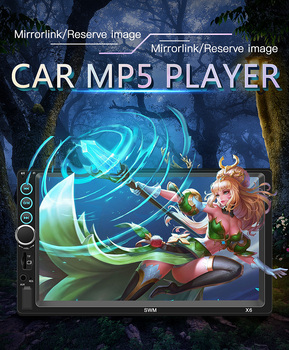 New X6 7-inch HD MP5 player 2 Din Bluetooth Stereo Car Multimedia Bluetooth Hands-free Phone Interconnection Dual-spindle FM