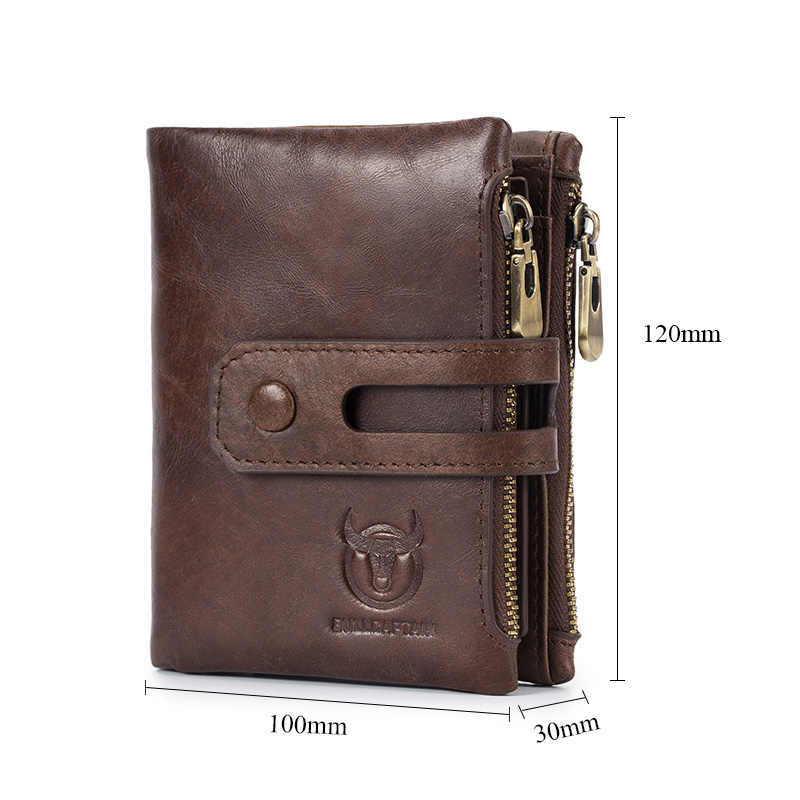 BULLCAPTAIN Echtem Leder RFID Männer Brieftasche Kredit Visitenkarte Halter Doppel-reißverschluss Rindsleder Leder Geldbörse Carteira 021