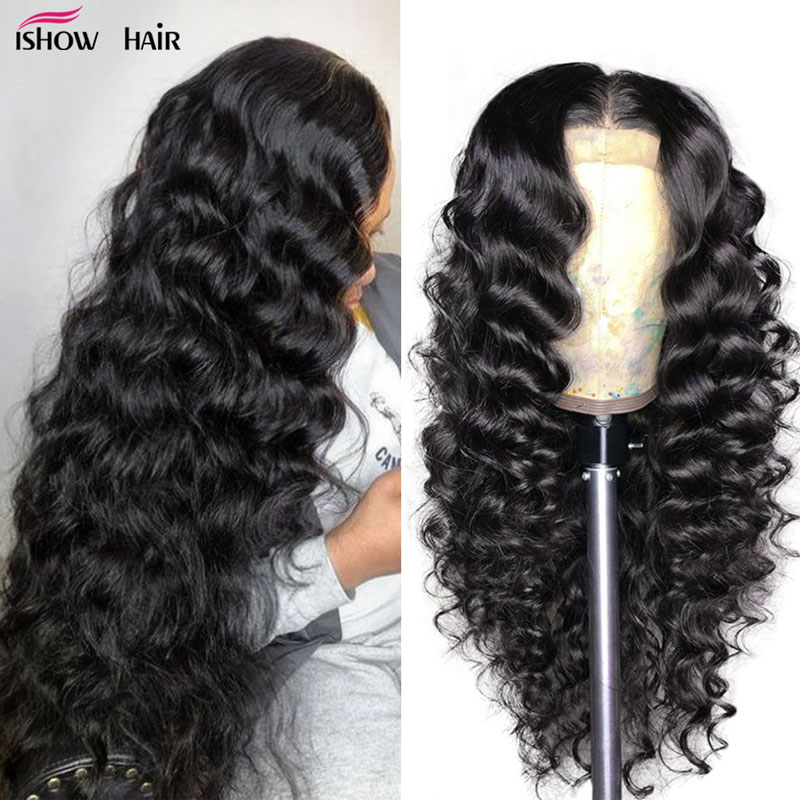 Ishow Loose Deep Wave Wig 13X4 Lace Front Human Hair Wigs For Women 13X6 Brazilian Hair Wigs Pre Plucked 360 Lace Frontal Wig
