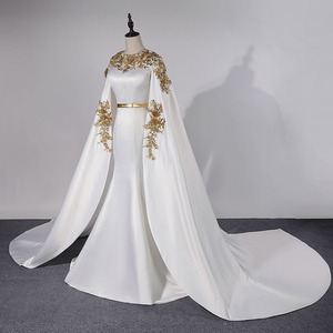 Image 3 - فساتين سهرة طويلة كلاسيكية في دبي لعام 2020 فساتين رسمية للحفلات من الساتان مزين بكريستال Vestidos Robe De Soiree