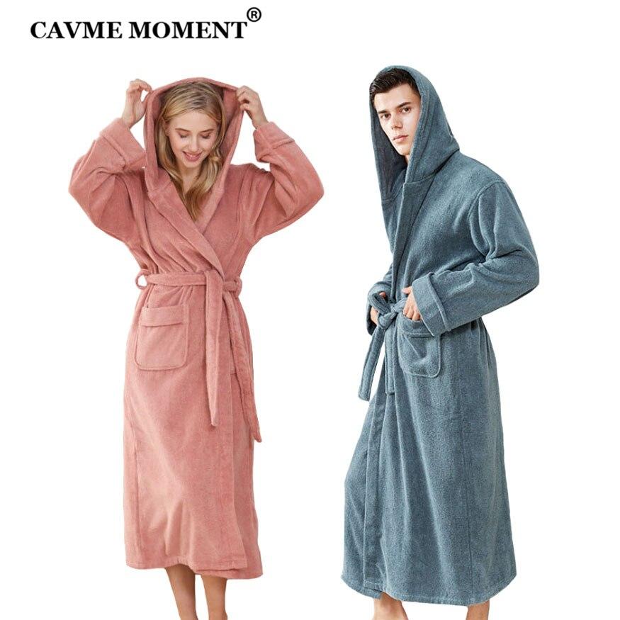 CAVME Winter Bathrobe Hooded Terry Kimono Unisex Thicken Cotton Robe Plus Size Long Bathrobes Solid Color CUSTOM LOGO