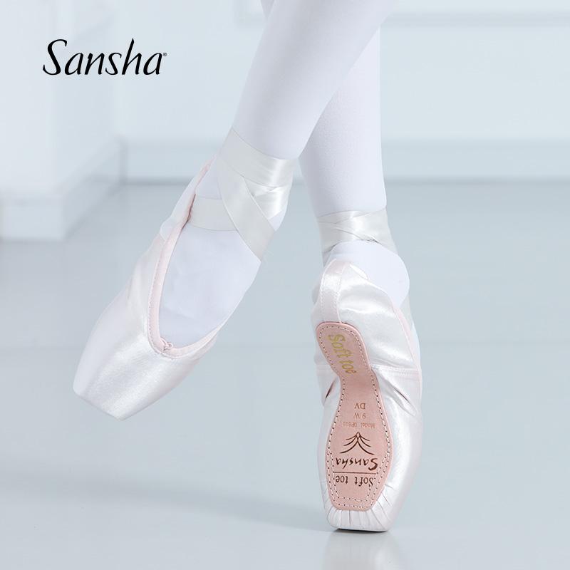 Sansha  Adult Kids Demi pointe Shoes Without Shank  Girls Women  Ballet Dance Shoes For Beginner Satin Upper Paper Soul DP802SP