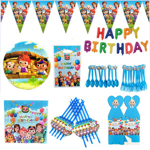 Cocomelon Theme Family Party Tablecloth Paper Cups Plates Straws Birthday Party Supplies Kids Toy Baby Shower Decoration
