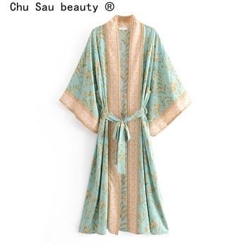 2020 nuevo superventas Vintage estampado Floral de Boho largo Kimono Tops de verano chaqueta abrigos Vestido Blusas Mujer