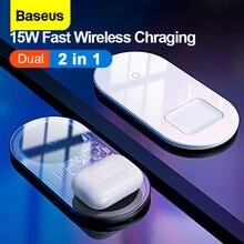 Baseus kablosuz şarj 2 in 1 için Airpods iPhone 11 15W hızlı şarj cihazı kablosuz çift Qi kablosuz şarj pedi huawei Xiaomi Mi