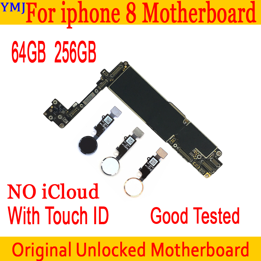 64GB 256GB 100% Original For IPhone 8 Motherboard With/without Touch ID Unlocked Mainboard For Iphone 8 IOS System Logic Board