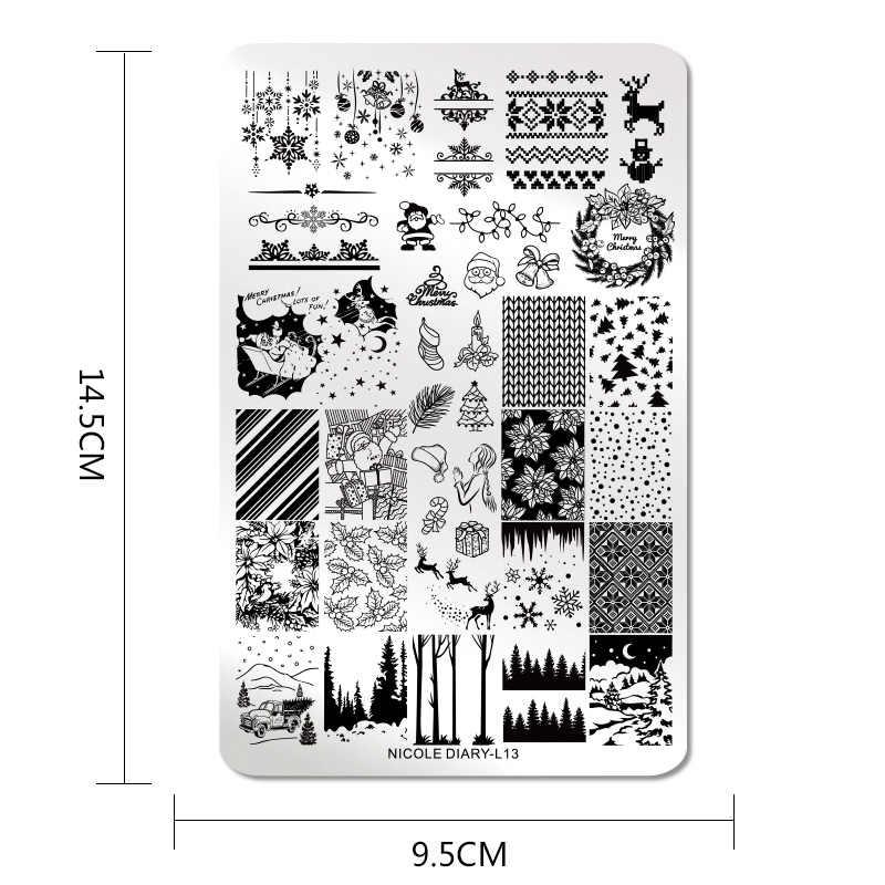 Ukuran Besar Kuku Stamping Plate Bunga Bunga Hewan Tropis Geometri Pola Paku Seni Gambar Cap Template Stensil Alat