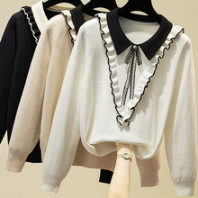 Ljsxls sueter mujer invierno 2020 outono camisola de manga longa feminino babados arco de malha blusas pulôveres inverno puxar femme