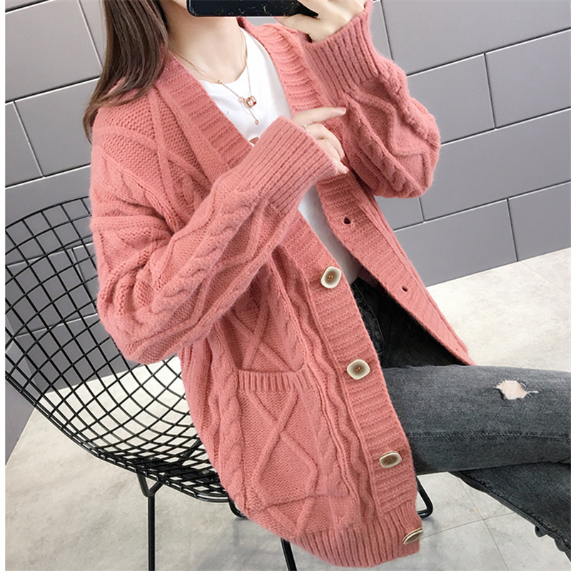 2020 Autumn Knitted Sweater Women Cardigan Fashion Single-breasted Mid-long Thick line Sweater Knitwear Loose Ladies Tops G462
