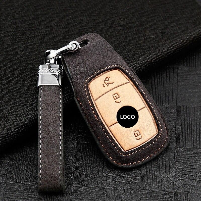 Süet deri araba uzaktan anahtar kapağı kılıfı Mercedes Benz için bir C r E r E r E r E r E r E r E r E r E r E G GLS sınıfı W177 W205 S205 E213 W222 g63 C217 C213 C205 AMG