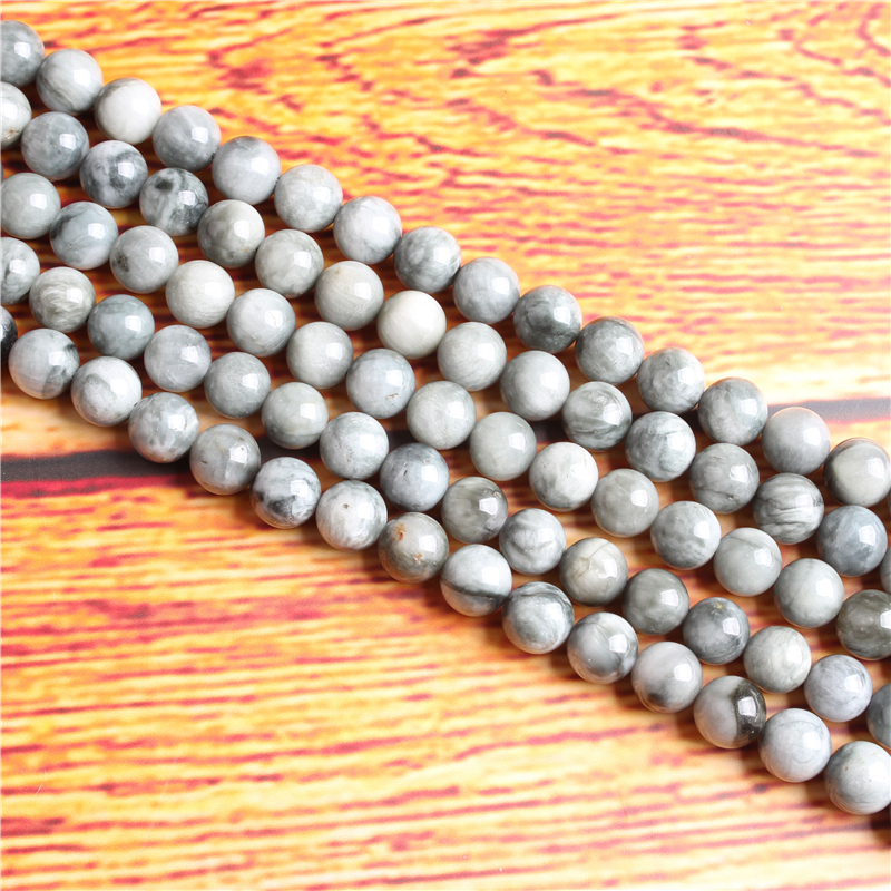 Natural Hawkeye Natural Stone Bead Round Loose Spaced Beads 15 Inch Strand 4/6/8 / 10mm For Jewelry Making DIY Bracelet Necklace