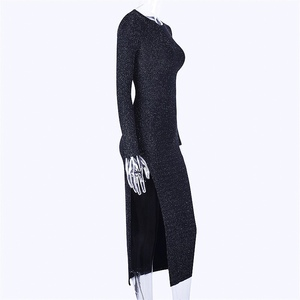 Image 5 - Dulzura 2019 가을 겨울 여성 bodycon 미디 드레스 반짝이 스파클 블링 긴 소매 슬릿 우아한 축제 의류 파티 복장