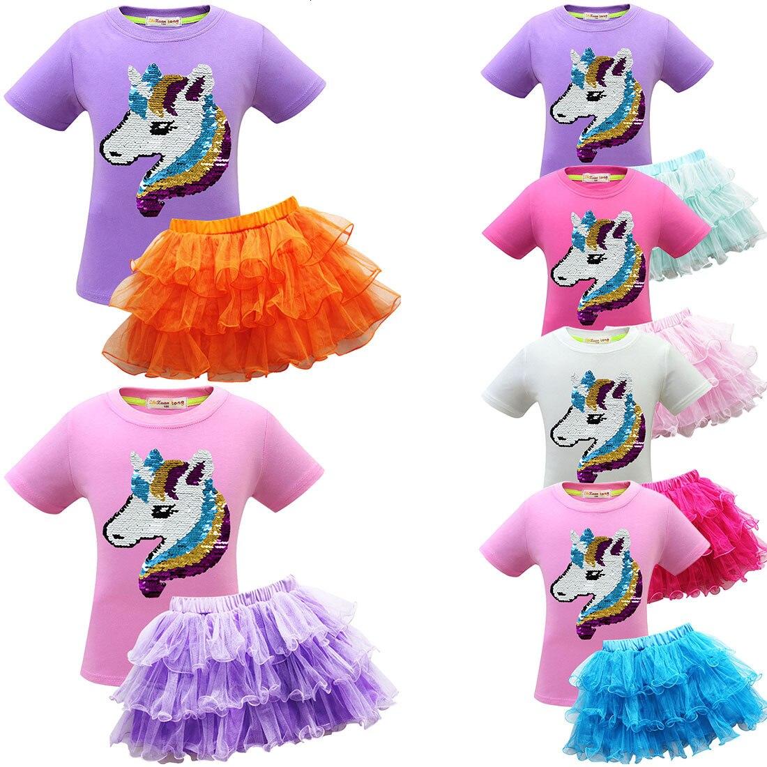 22019 Unicorn Unicorn Children Suit Baby Suit Skirt Short Sleeve Thick And Disorderly Skirt