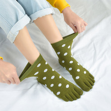 MS 1 pairs of womens five-toed cotton socks, spring and autumn in the tube solid color toe socks casual breathable