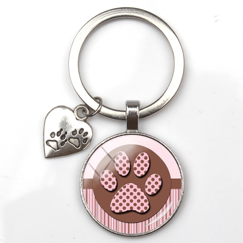 Fashion Cute Animal Paw Print Keychain Cat Dog I Love Glass Pendant Mini Heart Keyring Car Key Man Girl Favorite Gift Souvenir