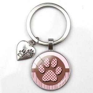 Fashion cute animal paw print keychain cat dog I love glass pendant mini heart keyring car key man girl favorite gift souvenir(China)
