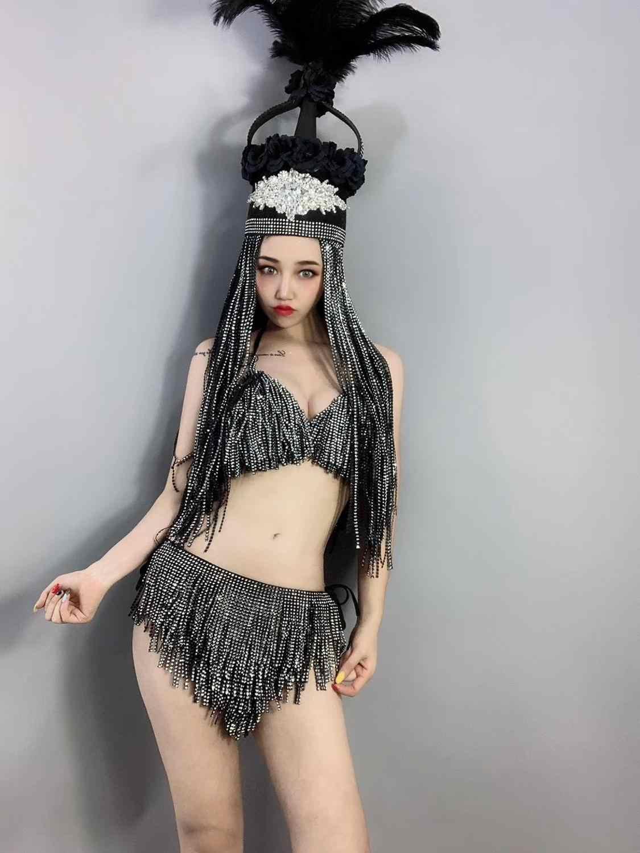 Mujer DJ Singer Dancer Stage Wear plata negro borlas espalda descubierta Bodi flecos brillantes peluca tocado Bar Show Sexy disfraz