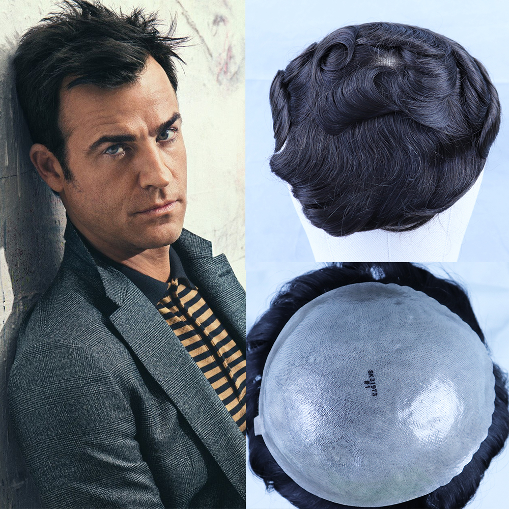 YY Wigs Dark Brown Human Hair Toupee For Men Brazilian Remy Hair Replacement System Skin PU 8x10 #2 30mm Curly Men's Toupee