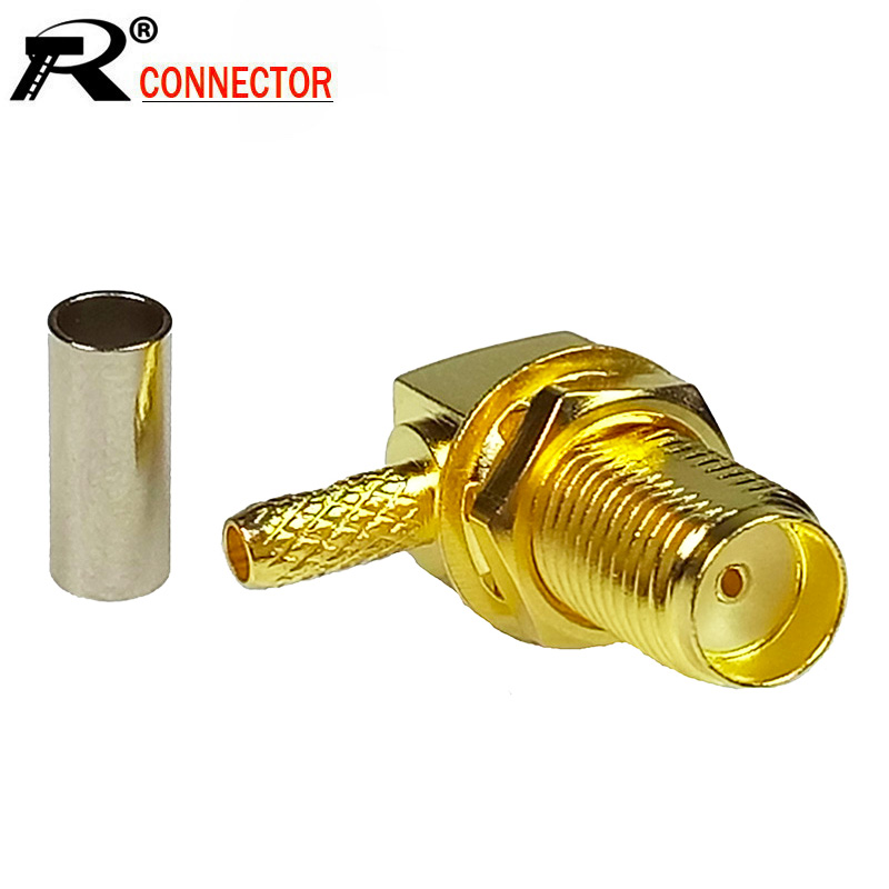 100pcs lot Right Angle SMA Female Jack Soldering RF Connector Gold Plated 90 Degree Female SMA