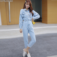 New Blue Bodycon Jeans Jumpsuit Women Elastic High Waist Rompers Pocket Long Sleeve Bodysuit Fashion Tunic Ladies Denim Overalls