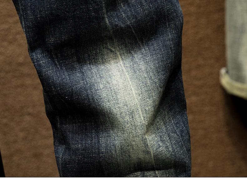 KSTUN Mens Dark Blue Jeans Pants Denim Slim Fit Elastic Casual Punk Jeans Men High Street Vintage Scratched Fashion Pockets Designer 17
