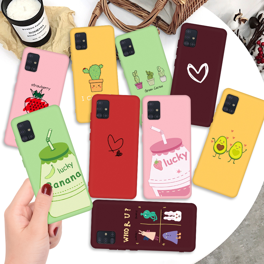 For Samsung Galaxy A51 A71 Case Couples Cartoon Lovely Heart Painted Silicone Cover For Samsung A50 A70 A50 70 51 71 Case Fundas