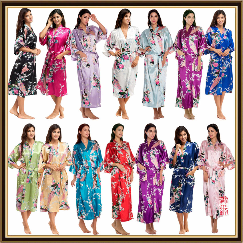 Half Sleeve Loose Style Woman Japanese Kimono Satin Silk Sleepwear Pajamas Peacock Spa Yukata Bathing Robe Lady's Long Dress