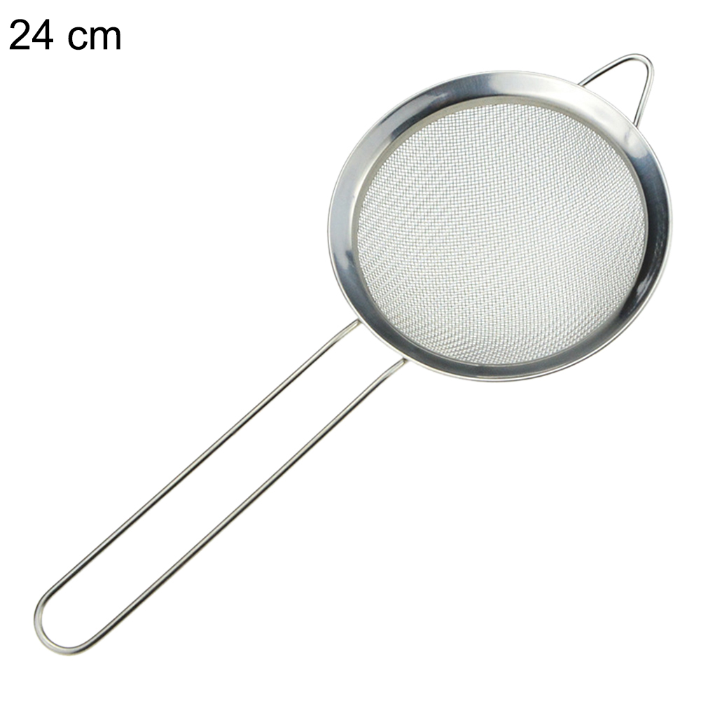 7/8/10/12/14/16/18/20/22/24/26cm Optional Filter Spoon Tool Stainless Steel Kitchen Flour Sieve Net Handheld Screen Flour Filte