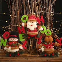Christmas Wreath Pendant Plush Doll Santa Snowman Elk Rattan Wreath Hanging Decorations For Christmas Festival Supplies ZA