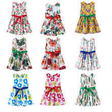 2020 New Little Girls Summer Dress Kids Baby Girls Fashion Print Sleeveless O-neck A-line Dresses with Sashes Princess Dress kids girls summer dress red yellow solid color o neck flowers pattern a line knee length regular sleeveless girl dresses 5ds274