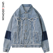 UNCLEDONJM Destroyed jeans mens clothing denim outerwear coat streetwear hip hop jacket for men patchwork 241W