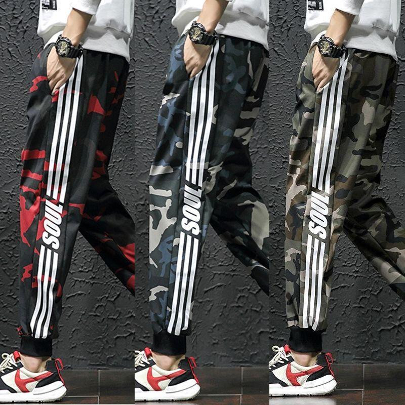 Men's Hip Hop Sweatpants Fitness Joggers 2019 Spring Male Side Stripe Street Man Camouflage Military Trousers Casual Harem Pants