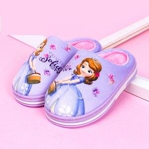 Image 5 - Nuevo Anna Elsa zapatos niñas zapatillas casa dibujos animados invierno Zapatos Niños Snow Queen 3d zapatillas de felpa alta calidad invierno cálido zapatos