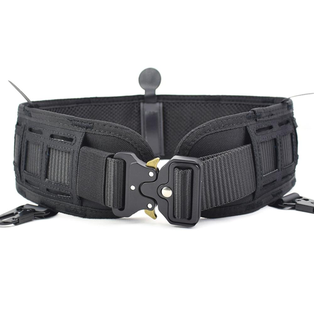Military Airsoft Adjustable Tactical Belt Men Padded Molle Waist Belt Quick Release Combat Army Battle Hunting Belt CummerbundsWaist Support   -