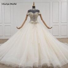 HTL1103 da cerimonia nuziale della principessa del vestito della ragazza abito di sfera di perline di cristallo vestito da sposa abito con collare a catena di lusso vestido de novia bohemio
