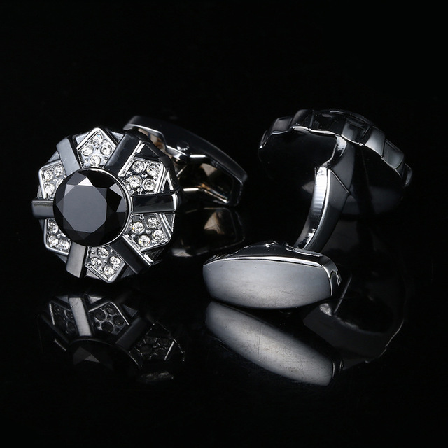 High-grade Black Crystal French Cufflinks  1