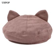 USPOP 2019 New women berets female cute cat ears suede beret solid color hat