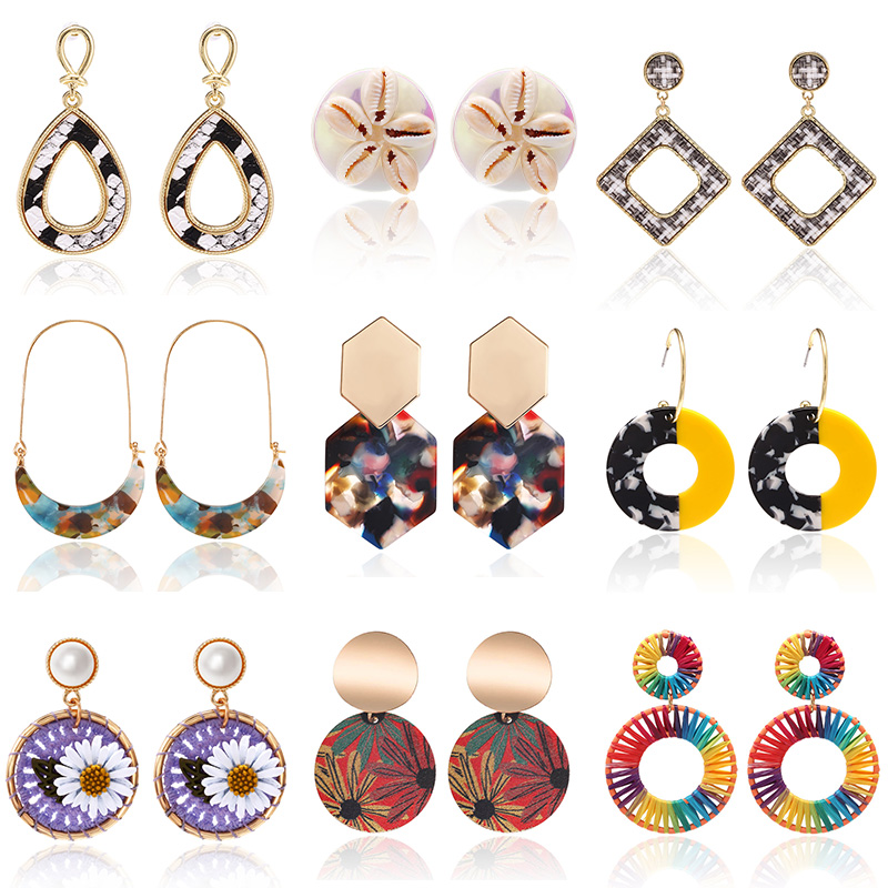 Unique Hoop Earrings For Women Flower Earrings Dangle 2020 Colorful Crystal Korea Earrings Free Shipping