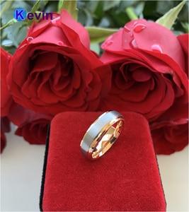 Image 5 - חתונה טבעת רוז זהב טונגסטן טבעת לגברים ונשים להקת 6MM