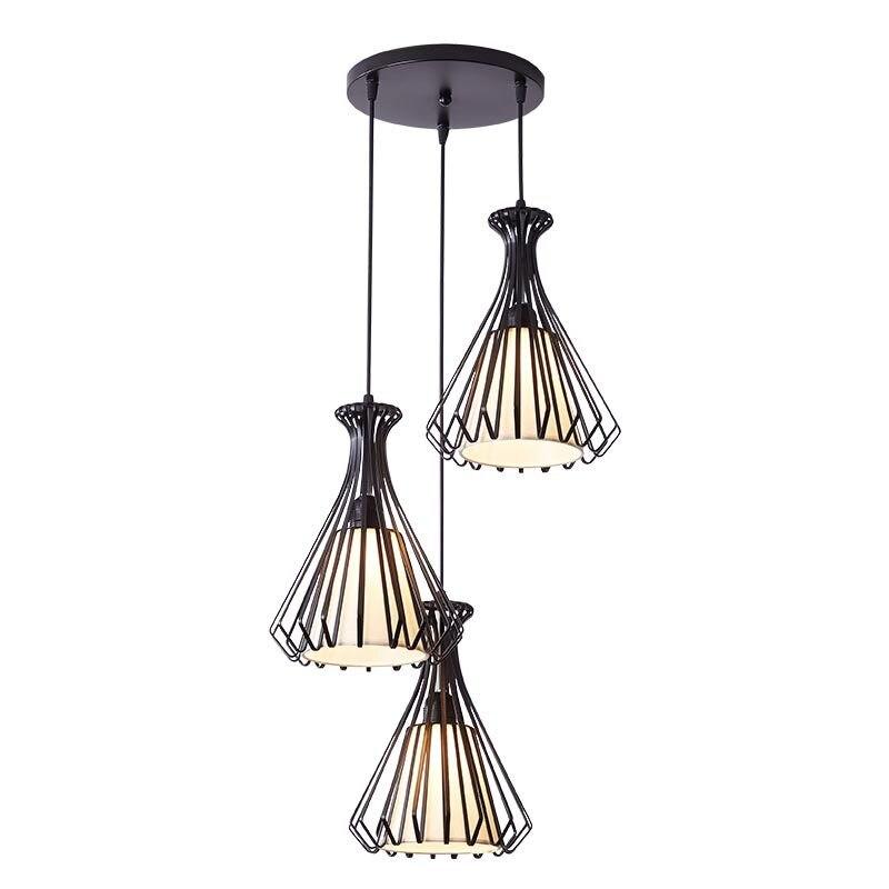 Modern 3lights Pendant Light Fixtures Black Metal Hanging Lamp Kitchen Dining Room Decor Home Lighting Lustre Fabric 110-220V