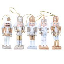 5 sztuk zestaw dziadek do orzechów lalek 12CM brokat w proszku ręcznie rzemiosła drewna klasyczny dziadek do orzechów lalek wisiorek urodziny prezent ślubny tanie tanio AIHOME Ludzi Europa
