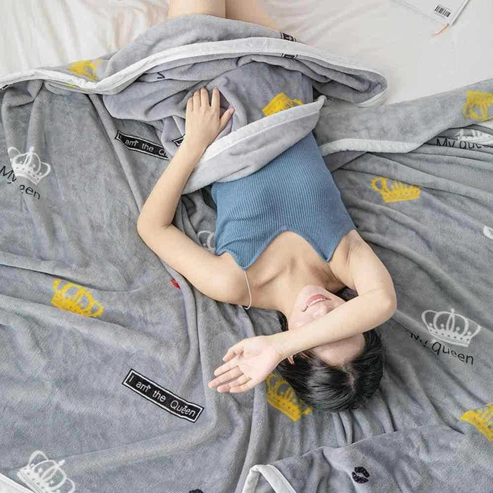 Escandinavo Grey coronas de moda de impresión de doble lado mantas tiros de franela de lana, microfibra mantas sábana de poliéster
