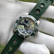 Steeldive1953j relógio mecânico automático men green ghost moda 300 m mergulho profundo relógios esportes lazer novos esportes cinto de aço