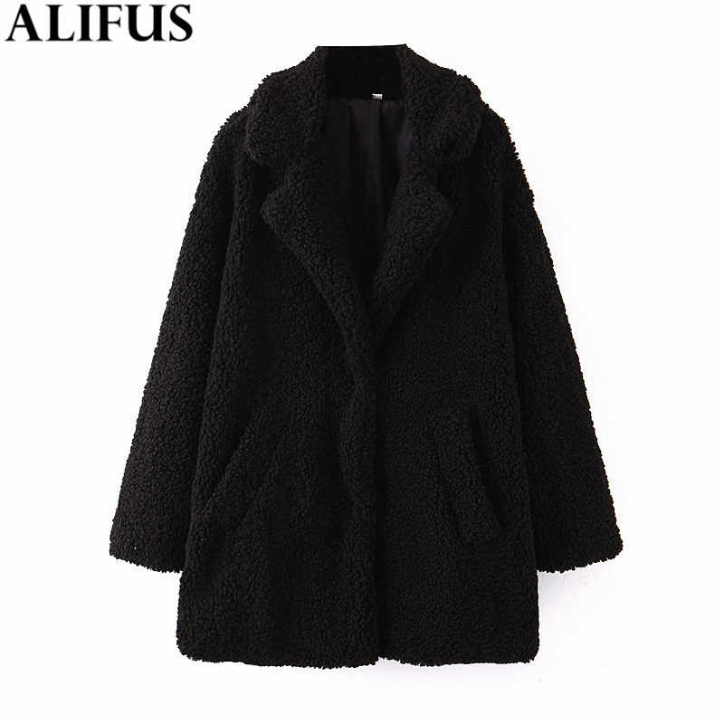 Fashion Za Women Coat 2019 Winter Faux Teddy Fur Solid Laple Collar Coats Long Sleeve Loose Outwear Jacket Female Ladies