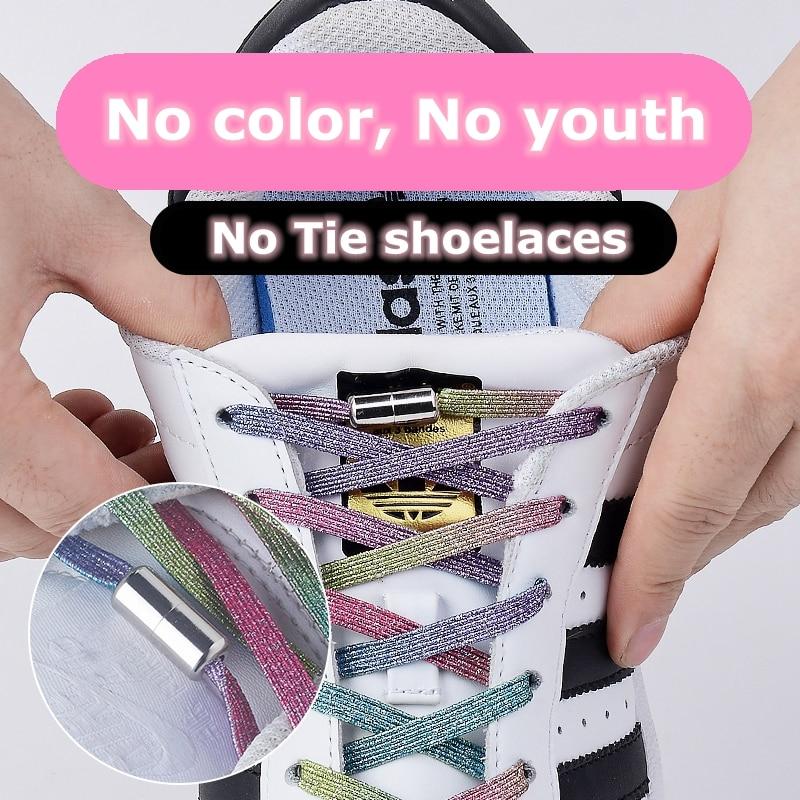 1Pair Elastic Locking Shoelaces Flats No Tie Shoelace Quick Sneakers Locking Shoe Laces Kids Adult Women Men Shoes Lace Strings