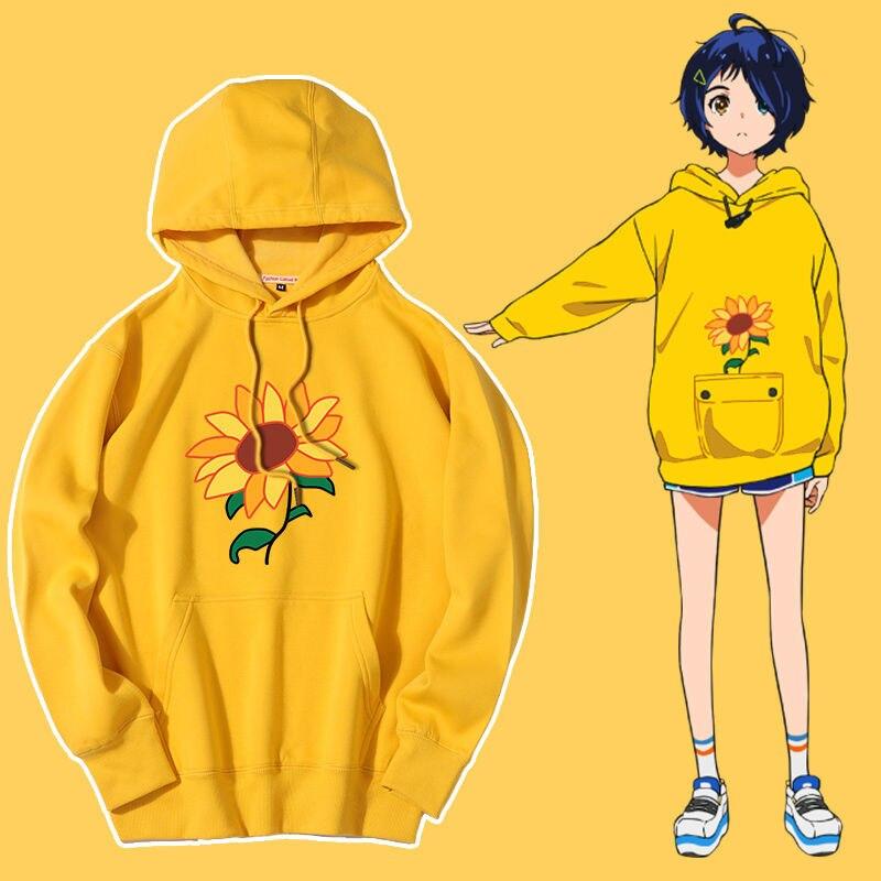 Толстовка с капюшоном в стиле аниме, пуловер оверсайз, желтая толстовка, женская одежда, мужская одежда, одежда для пары, одежда с капюшоном ...