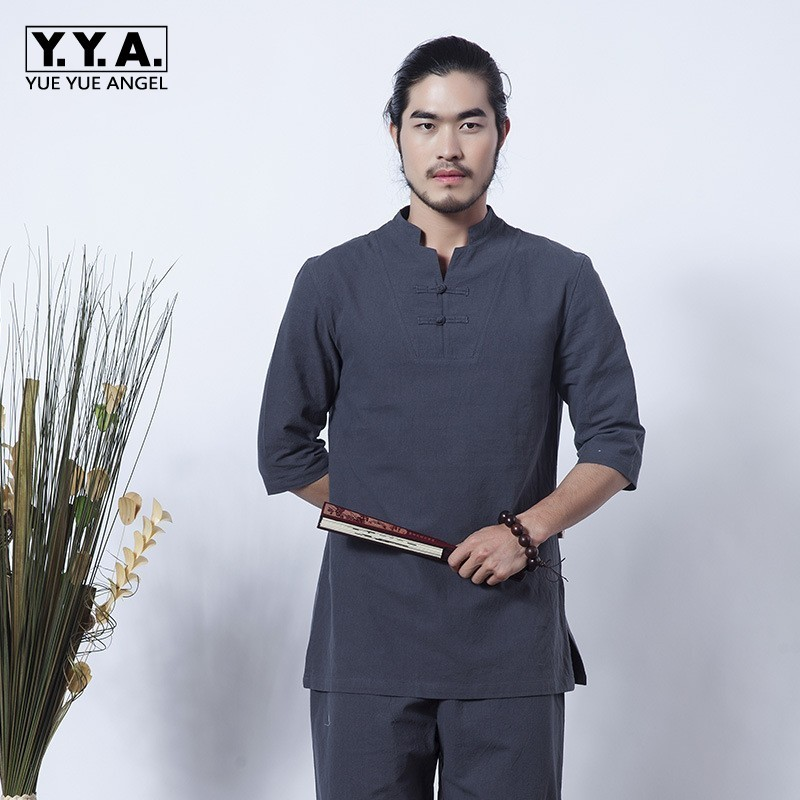 Vintage Chinese Meditation Cotton Linen Mens 2pcs Clothes Set Summer Breathable Tai Chi Tracksuit Casual Teaism Coordinates Suit