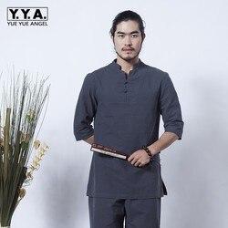 Vintage chino de meditación de algodón de lino para hombres 2 uds. Conjunto de ropa de verano transpirable taichi chándal Casual Teaism